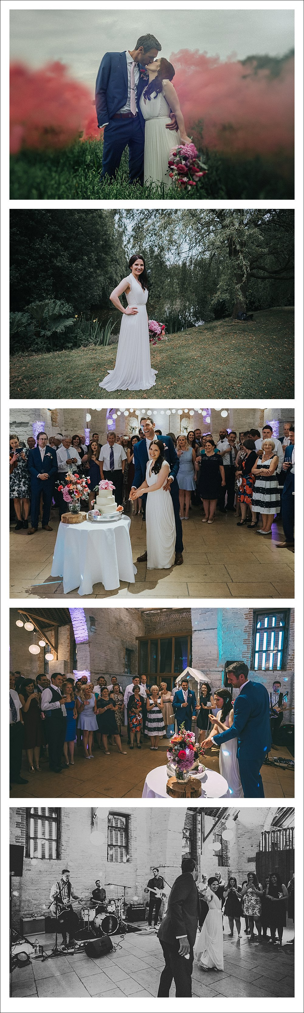 Smoke Grenade Photography by Chris Deller Photography Tithe Barn Wedding